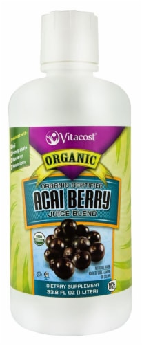 Vitacost Organic Certified Acai Berry Juice Blend Dietary Supplement Perspective: front