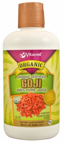 Vitacost Organic Certified 100% Pure Goji Berry Juice Dietary Supplement Perspective: front