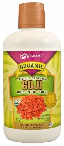 Vitacost Organic Certified 100% Pure Goji Berry Juice Dietary Supplement Perspective: front