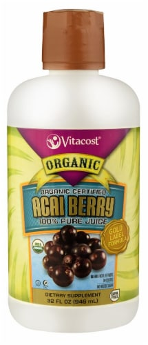 Vitacost Organic Certified Acai Berry Gold 100% Pure Juice Dietary Supplement Perspective: front