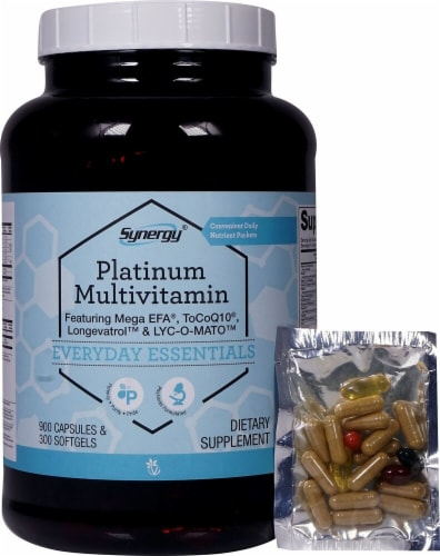 Vitacost Synergy Platinum Multivitamin Capsules & Softgels Perspective: front