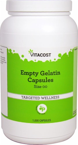 Vitacost Size 00 Empty Gelatin Capsules Perspective: front