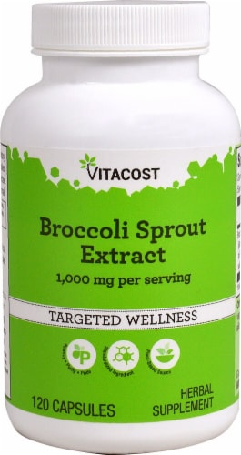 Vitacost Broccoli Sprout Extract Herbal Supplement Capsules 1000mg Perspective: front