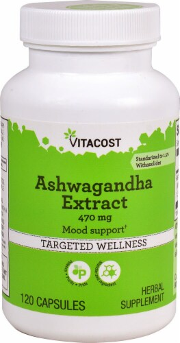 Vitacost Ashwagandha Extract Mood Support Capsules Perspective: front