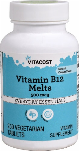 Vitacost Vitamin B-12 Orange Flavored Melts Supplement Vegetarian Tablets 500mcg Perspective: front