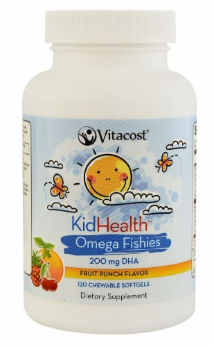 Vitacost KidHealth Omega Fishies For Kids Chewable Softgels 200mg Perspective: front