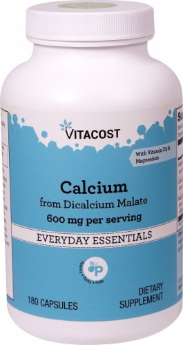 Vitacost  Calcium from Dicalcium Malate 600 mg per serving with Vitamin D3 & Magnesium Perspective: front
