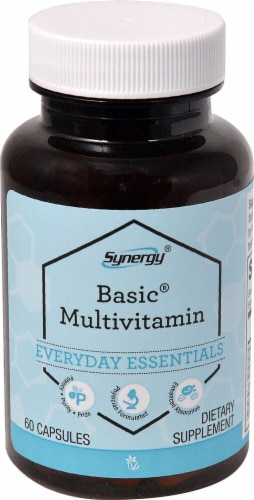 Vitacost Synergy Basic Multivitamin Capsules Perspective: front