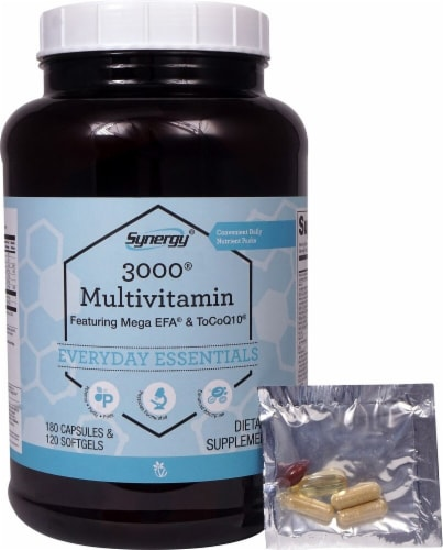 Vitacost Synergy 3000 Multivitamin Everyday Essentials Capsules & Softgels Perspective: front
