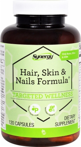 Vitacost Synergy Hair Skin & Nails Capsules Perspective: front