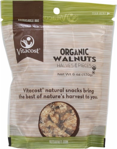 Vitacost  Organic Walnut Halves and Pieces Unsalted Perspective: front