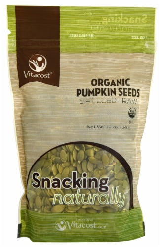 Vitacost  Organic Pumpkin Seeds Shelled Raw Perspective: front