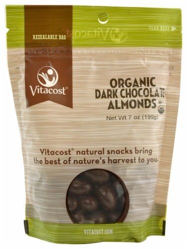 Vitacost Organic Dark Chocolate Covered Almonds Perspective: front