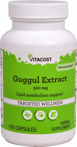 Vitacost Guggul Extract Featuring Gugulipid Capsules 500mg Perspective: front