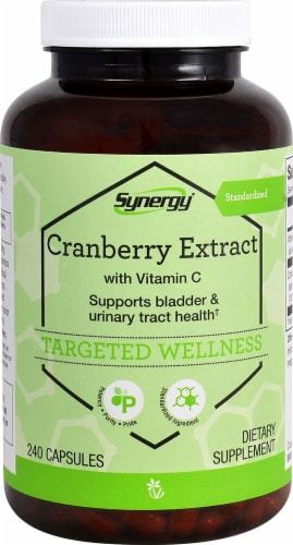 Vitacost Synergy Cranberry Extract Dietary Supplement Capsules Perspective: front