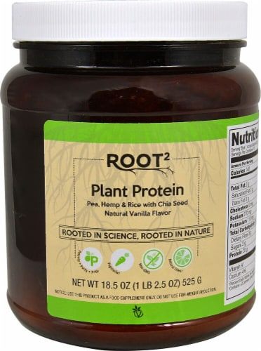 Vitacost ROOT2 Natural Vanilla Plant Protein Perspective: front