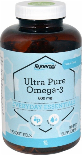Vitacost Synergy Lemon Ultra Pure Omega-3 Dietary Supplement 800mg Perspective: front