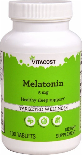 Vitacost Melatonin Targeted Wellness Tablets 5mg Perspective: front