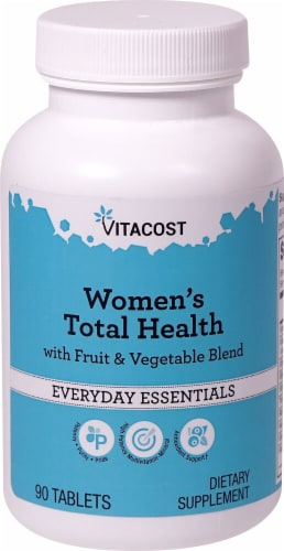 Vitacost Women's Total Health with Fruit & Vegetable Blend Everyday Essentials Tablets Perspective: front