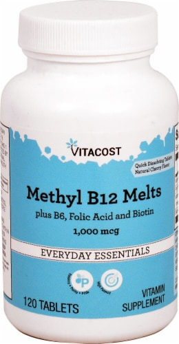 Vitacost Natural Cherry Methyl B12 Melts Perspective: front