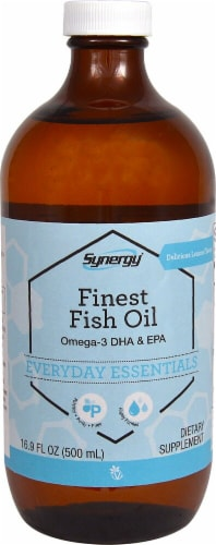 Vitacost Synergy Liquid Fish Oil Omega-3 DHA & EPA - Lemon Perspective: front