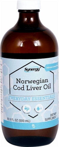 Vitacost Synergy Lemon Flavor Norwegian Cod Liver Oil Perspective: front