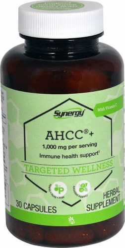 Vitacost Synergy AHCC + with Vitamin C Herbal Supplement Capsules 1000mg Perspective: front