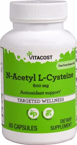 Vitacost N-Acetyl L-Cysteine Dietary Supplement 600mg Perspective: front