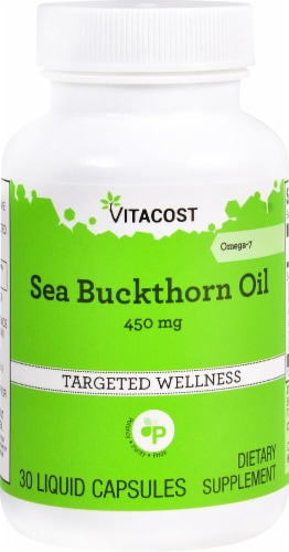 Vitacost Sea Buckthorn Oil Omega 7 Dietary Supplement Liquid Capsules 450mg Perspective: front