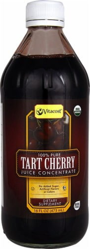 Vitacost 100% Pure Organic Tart Cherry Juice Concentrate Dietary Supplement Perspective: front