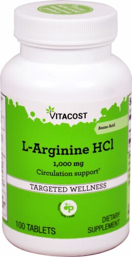 Vitacost L-Arginine HCl Tablets 1000 mg Perspective: front