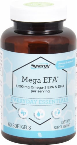 Vitacost Synergy Mega EFA Dietary Supplement 1200mg Perspective: front