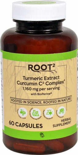 Root2 Turmeric Extract Curcumin C3 Complex Capsules Perspective: front