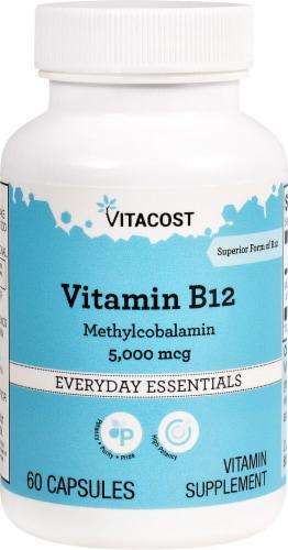 Vitacost  Vitamin B-12 Methylcobalamin Capsules 5000mcg Perspective: front