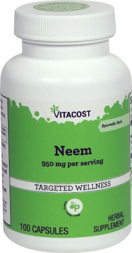 Vitacost Neem Herbal Supplement Capsules 950mg Perspective: front