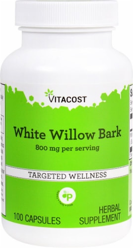 Vitacost White Willow Bark Herbal Supplement Capsules 800mg Perspective: front