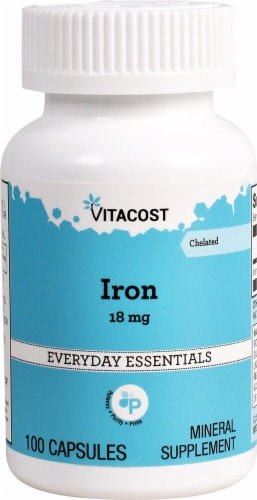 Vitacost Iron Capsules 18mg Perspective: front