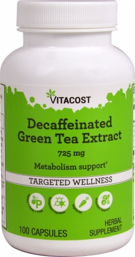 Vitacost Decaffeinated Green Tea Extract Dietary Supplement 725mg Perspective: front