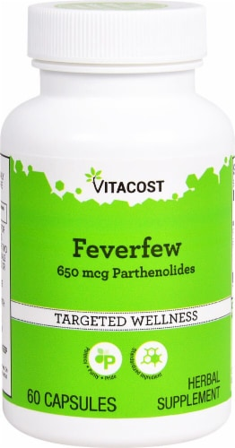 Vitacost Feverfew Herbal Supplement Capsules 650mcg Perspective: front