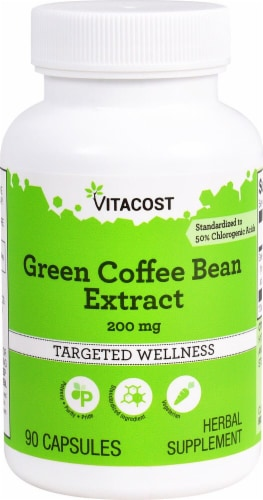 Vitacost Green Coffee Bean Extract Targeted Wellness Capsules 200mg Perspective: front