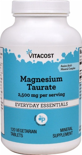 Vitacost Magnesium Taurate Mineral Supplement Vegetarian Tablets 2500mg Perspective: front