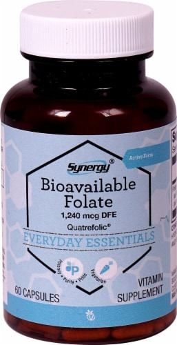 Vitacost Synergy Bioavailable Folate Featuring Quatrefolic Vitamin Supplement Capsules Perspective: front