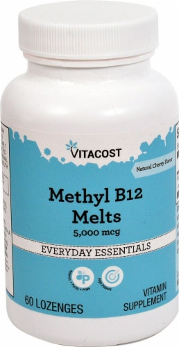 Vitacost Methyl B-12 Melts Cherry Flavor Supplement Lozenges Perspective: front