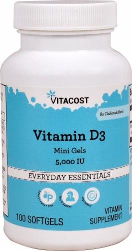 Vitacost Vitamin D3 Mini Gels 5000IU Perspective: front