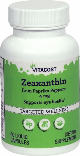 Vitacost Zeaxanthin Targeted Wellness Liquid Capsules 4mg Perspective: front