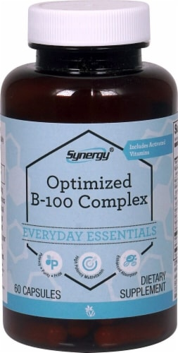 Vitacost Synergy Optimized B-100 Complex Enhanced Absorption Dietary Supplement Perspective: front