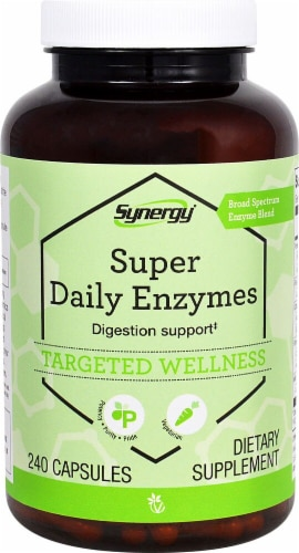 Vitacost Synergy Super Daily Enzymes Targeted Wellness Capsules Perspective: front