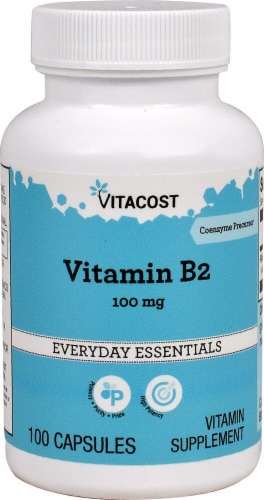 Vitacost Vitamin B2 Capsules 100mg Perspective: front