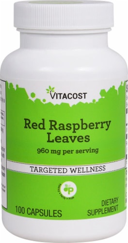 Vitacost Red Raspberry Leaves Dietary Supplement Capsules 960mg Perspective: front