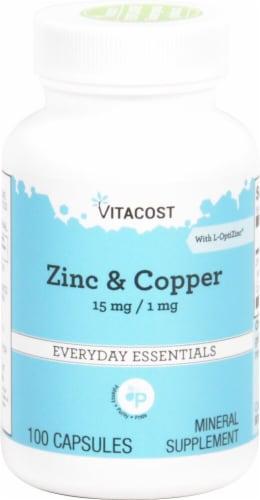 Vitacost Zinc & Copper Capsules Perspective: front